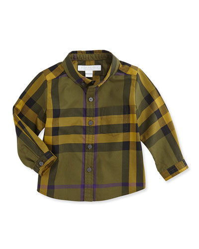 Check Button-Down Shirt, Olive, 3M-3Y