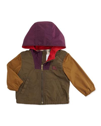 Colorblock Lightweight Tech-Fabric Jacket, Khaki Multi, 6M-3Y