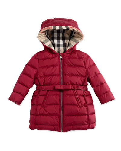 Puffer Jacket with Bow-Belt, Fritillary Pink, 6M-3Y