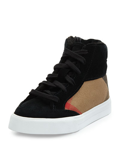 Check & Suede High-Top Sneaker, Black, Youth
