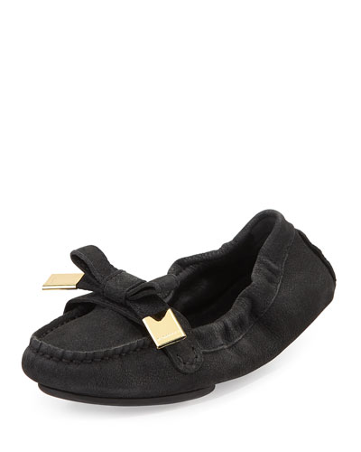 Scrunched Leather Bow Loafer, Black
