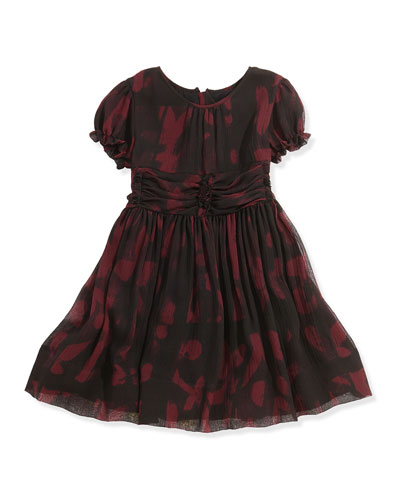 Printed Crinkle-Chiffon Dress, Deep Claret, 8Y-14Y