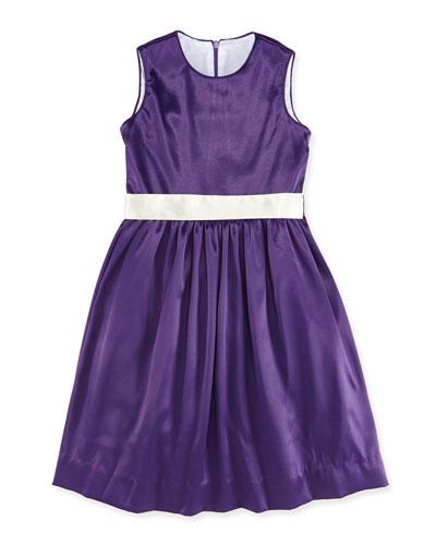 Sally Satin Soiree Dress, Amethyst, 7Y-12Y