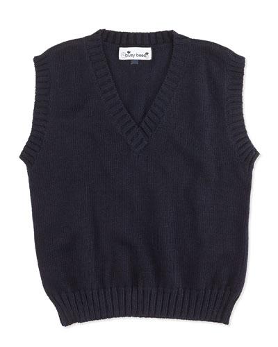 Knit Sweater Vest, Navy, 2Y-12Y