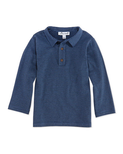 Mini Striped Long-Sleeve Polo, Navy/Blue, 3M-12Y