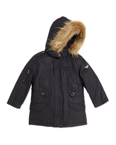 Faux-Fur Trimmed Waxed Jacket With Faux-Fur Vest, Navy, Sizes 2T-8