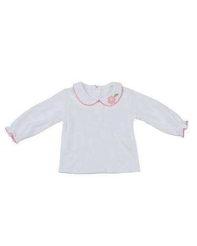 Long-Sleeve Peter-Pan Collar Shirt, White, 12-24 Months