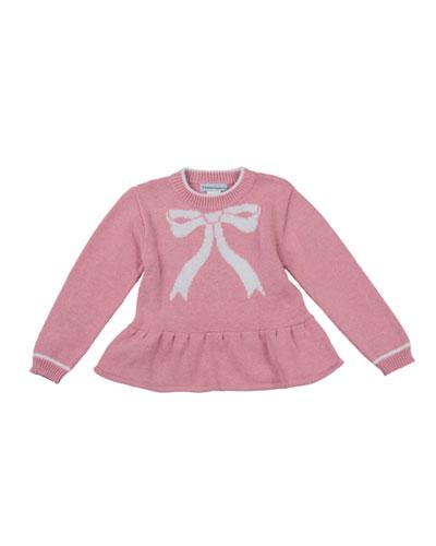 Bow-Intarsia Peplum Sweater, Pink, 4-6X