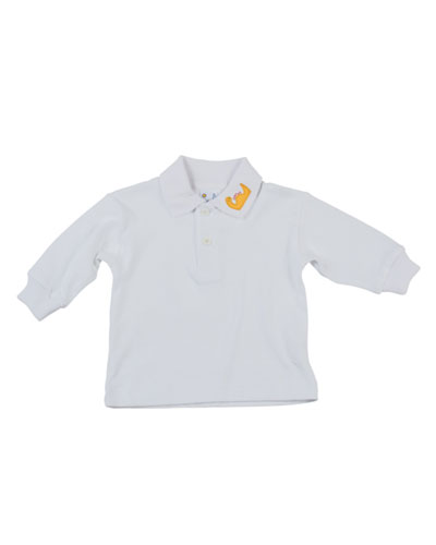 Dinosaur Long-Sleeve Polo, White, 2T-4T