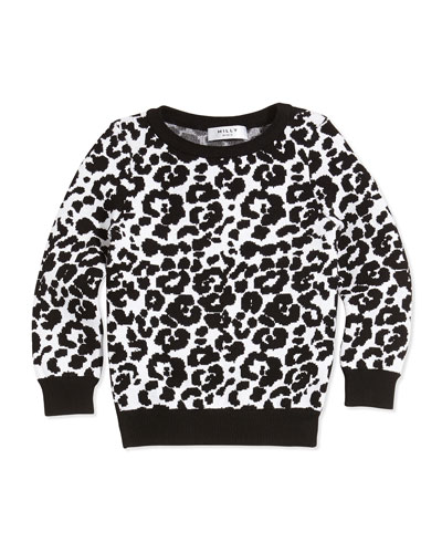 Cheetah-Jacquard Pullover Sweater, Black/White, Sizes 2-7