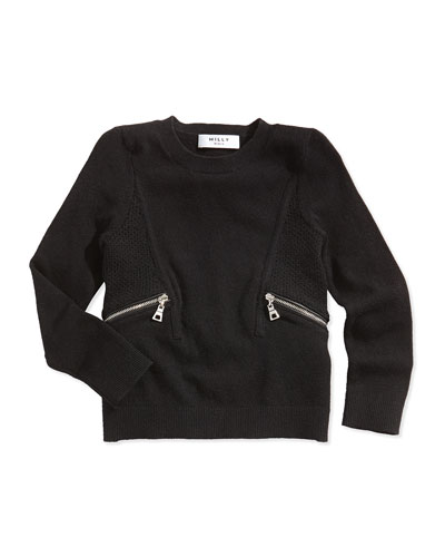 Zipper-Detail Pullover Sweater, Black, Sizes 8-14