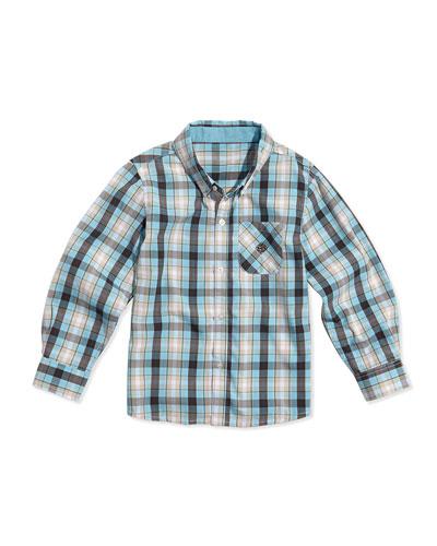 Two-Tone Plaid Poplin Button Shirt, Brown/Light Blue, Sizes 2T-7Y