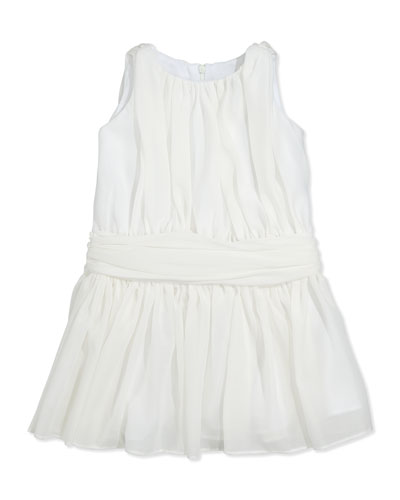 Ruched Chiffon Dress, Ivory, Sizes 2T-4T