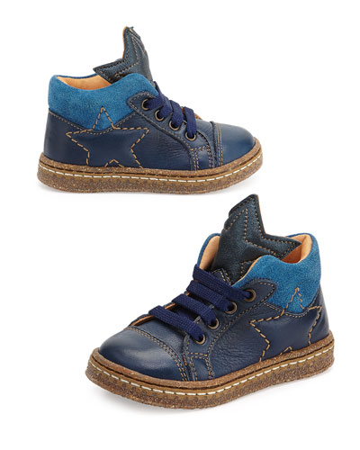 Lace-Up Sneaker with Stars, Toddler, Navy/Blue
