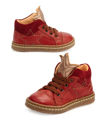 Lace-Up Sneaker with Stars, Youth, Red/Dark Red