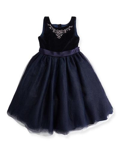 Embroidered Velvet & Tulle Dress, Heritage Navy, 4-6X