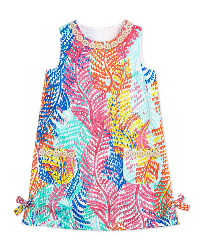 Little Lilly Fern-Print Classic Shift Dress, Cameo White, Sizes 2-10