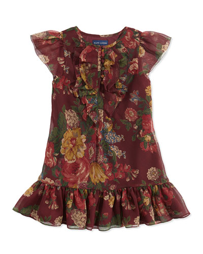 Ruffled Floral-Print Chiffon Dress, Bordeaux, Sizes 4-6X