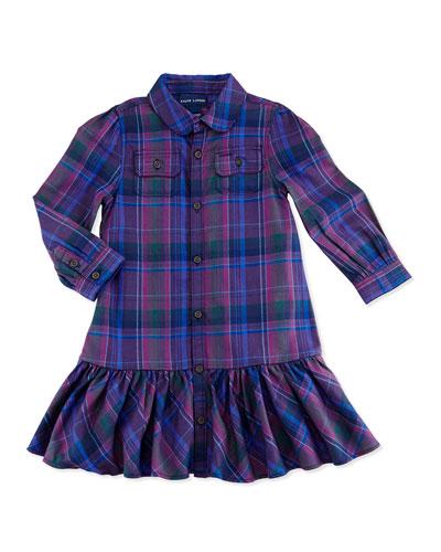 Plaid Twill Shirtdress, 9-24 Months