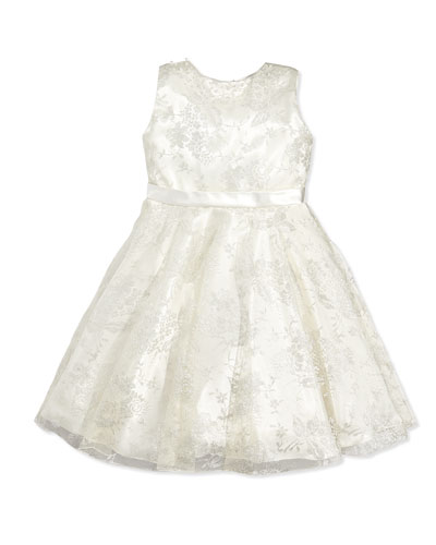 Sleeveless Charmeuse & Metallic Lace Dress, Silver/Ivory, Sizes 2-14