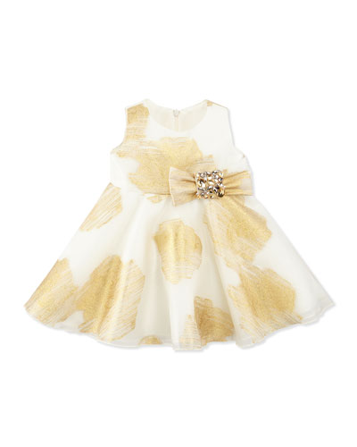 Little Lady Gold-Print Party Dress, 12-24 Months