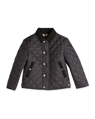 Diamond Quilted Nylon Coat, Flint, 4Y-14Y