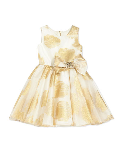 Little Lady Gold-Print Party Dress, 2-6X