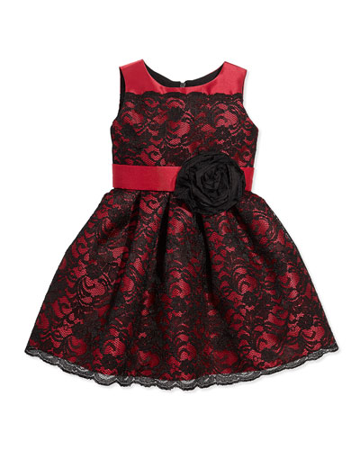 Lace-Overlay Party Dress, Black/Red, Sizes 8-12