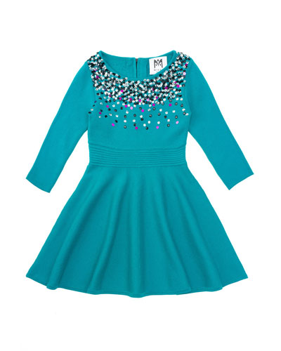 Ombre Sequin Flare Dress, Emerald, Sizes 8-14