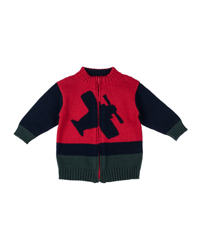 Airplane Intarsia-Knit Zip Sweater, 3-24 Months