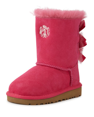 Monogram Bailey Boot with Bow, Cerise, 6T-12T