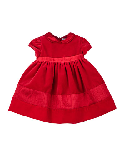 Short-Sleeve Velvet Dress, 2T-3T