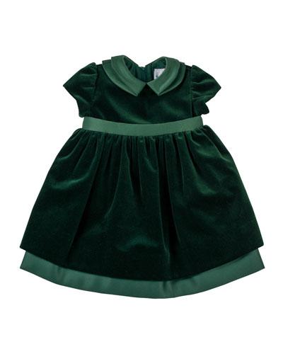 Velvet Dress with Satin Trim, 2T-4T