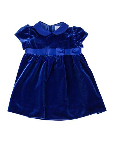 Peter Pan-Collar Velvet Dress, 2T-4T