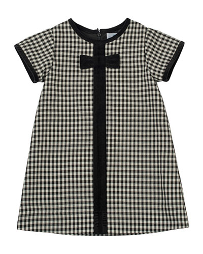 Check Dress with Velvet-Trim, Sizes 4-6X