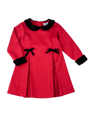 Pleated Ponte Dress with Velvet-Trim, 4-6X