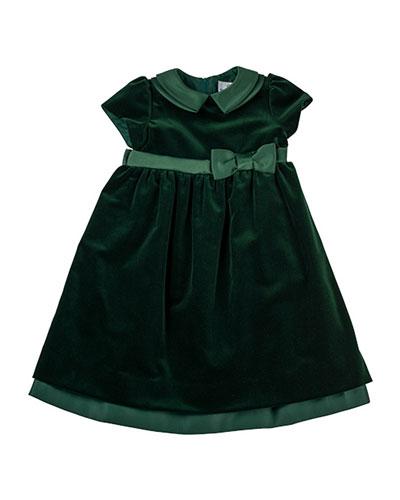 Velvet Dress with Satin Trim, Sizes 4-6X