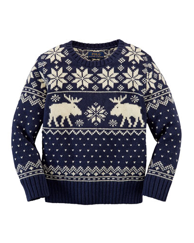 Reindeer Cotton/Wool Sweater, Cruise Navy, Sizes 2-7