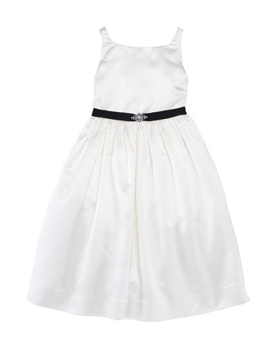 Satin Dress with Jeweled Belt, 2T-6X