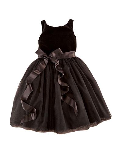 Velvet & Sparkling Tulle Dress, 2T-6X