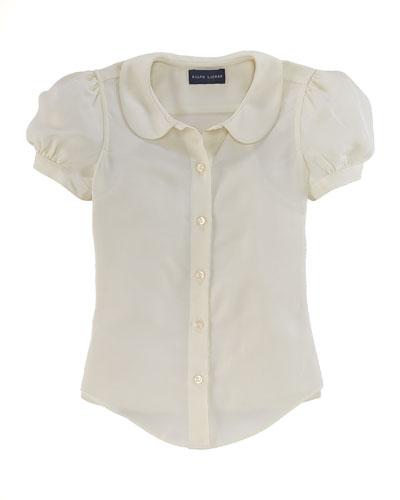 Crepe Short-Sleeve Blouse, Beige, Sizes 2-6X