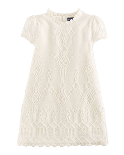 Cashmere Pointelle-Knit Sweater Dress, Sizes 2-6X