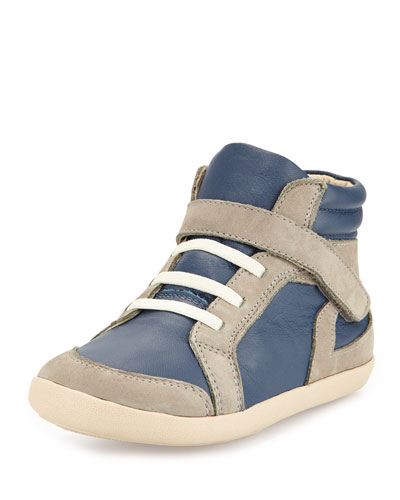 Two-Tone Leather High-Top Sneaker, Navy, Youth