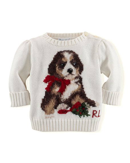 Ralph Lauren Childrenswear Girls Intarsia Knit Holiday Dog Sweater