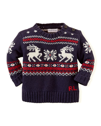 Reindeer Cotton/Wool Sweater, New Navy Multi, 3-24 Months