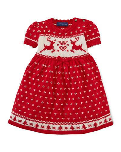 Intarsia-Knit Reindeer Dress, 9-24 Months
