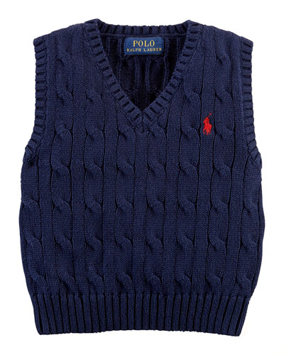 Cable-Knit Vest, Cruise Navy, 9-24 Months