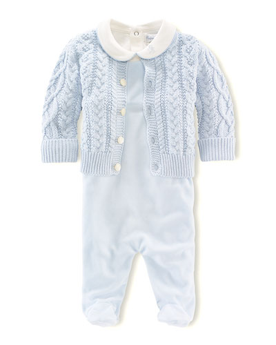 Aran-Knit Cardigan, Bodysuit, and Footed Overall Set, NB-9 Months
