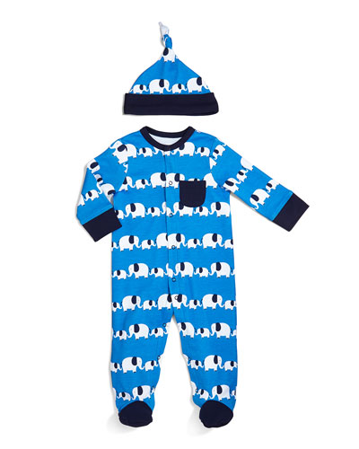 Boys' Elephant Footie & Hat Set, NB-9 Months
