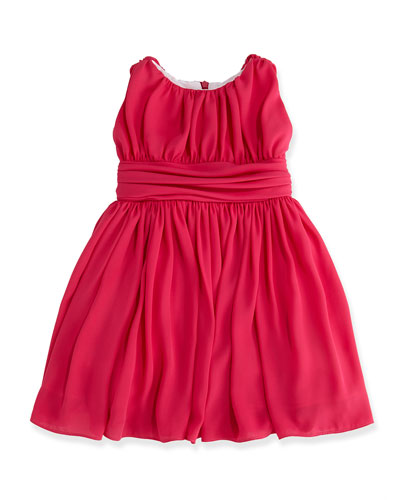 Shirred Chiffon Dress, Fuchsia, Sizes 7-14